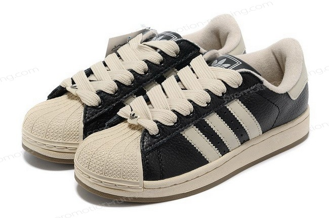 Adidas Superstar 2 465174 Leather Black Beige Of Nice Model - Adidas Superstar 2 465174 Leather Black Beige Of Nice Model-01-3