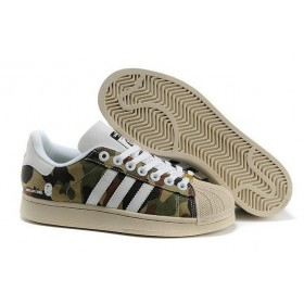 Adidas Super Ape Star Mens Camo Canvas Green Brown White Of Nice Model